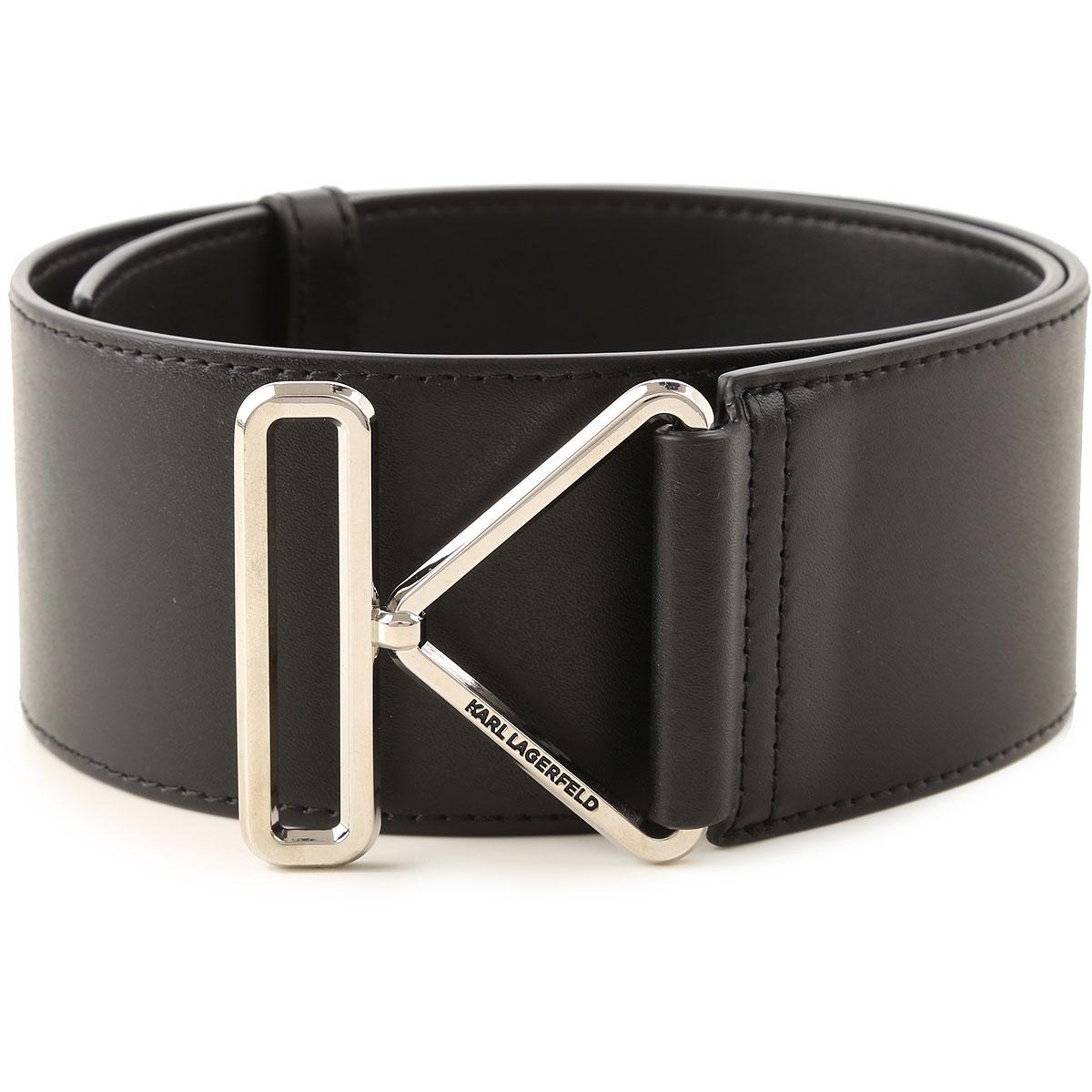Karl Lagerfeld Belt for Women On Sale, Black, Leather, 2019, Medium Large