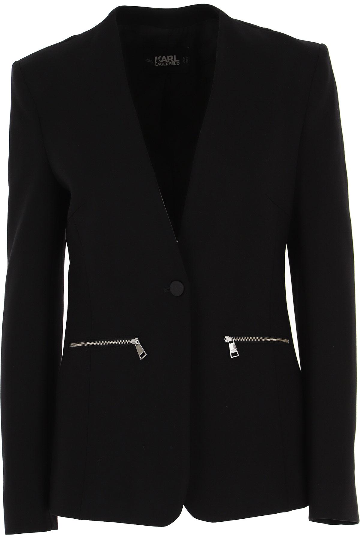 Karl Lagerfeld Blazer for Women On Sale, Black, Viscose, 2019, 10 6 8
