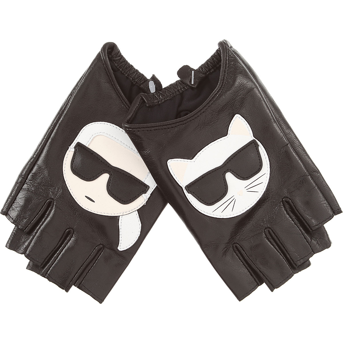 Image of Karl Lagerfeld Gloves for Women, Black, Leather, 2017, S/M M/L