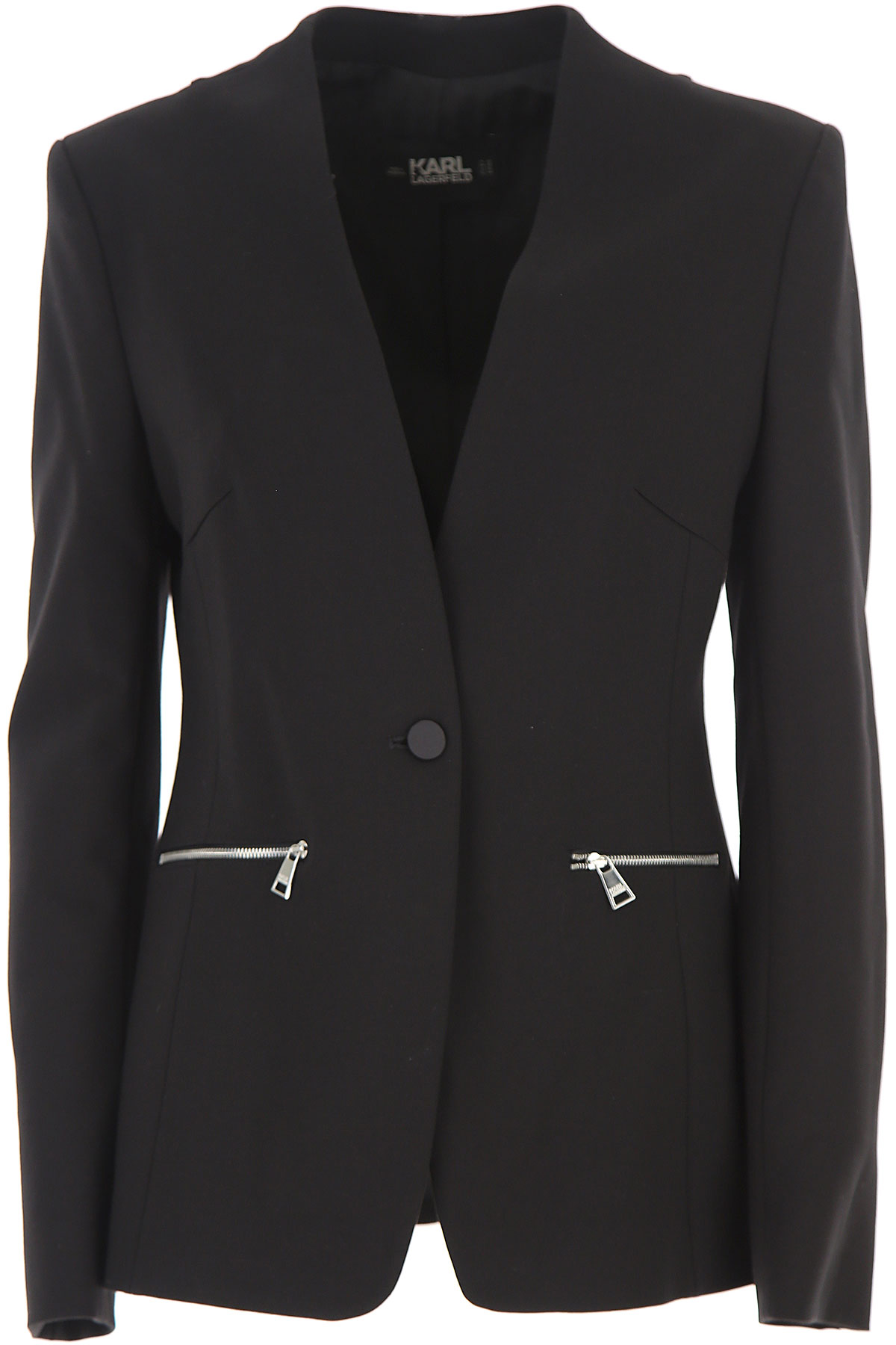Karl Lagerfeld Blazer for Women On Sale, Black, Viscose, 2019, 4 6