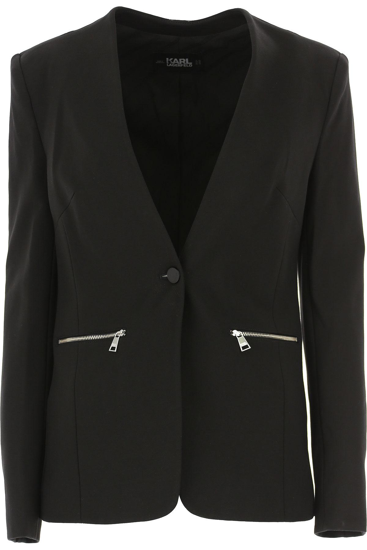 Karl Lagerfeld Blazer for Women On Sale, Black, viscosa, 2019, 4 6 8