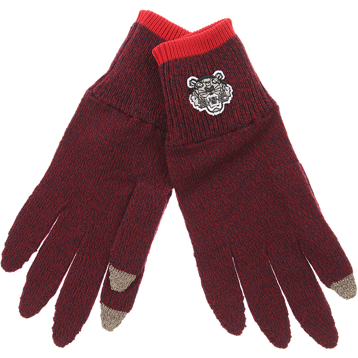 Image of Kenzo Gloves for Men, Bordeaux, Wool, 2017
