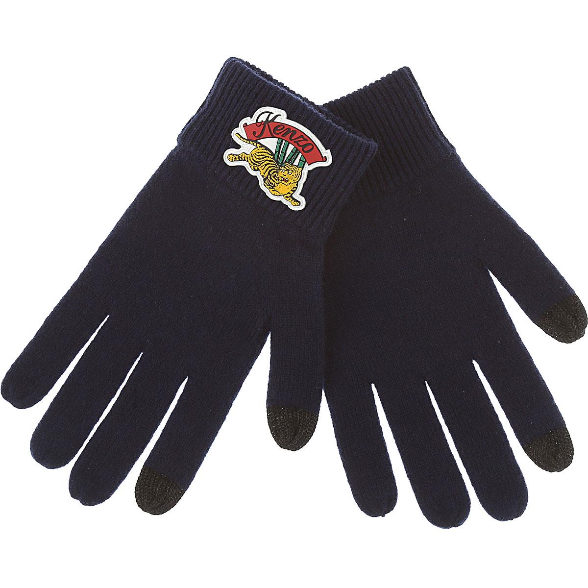 Image of Kenzo Gloves for Men, Blue, Wool, 2017