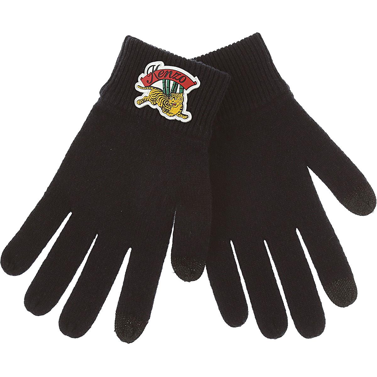Image of Kenzo Gloves for Men, Black, Wool, 2017