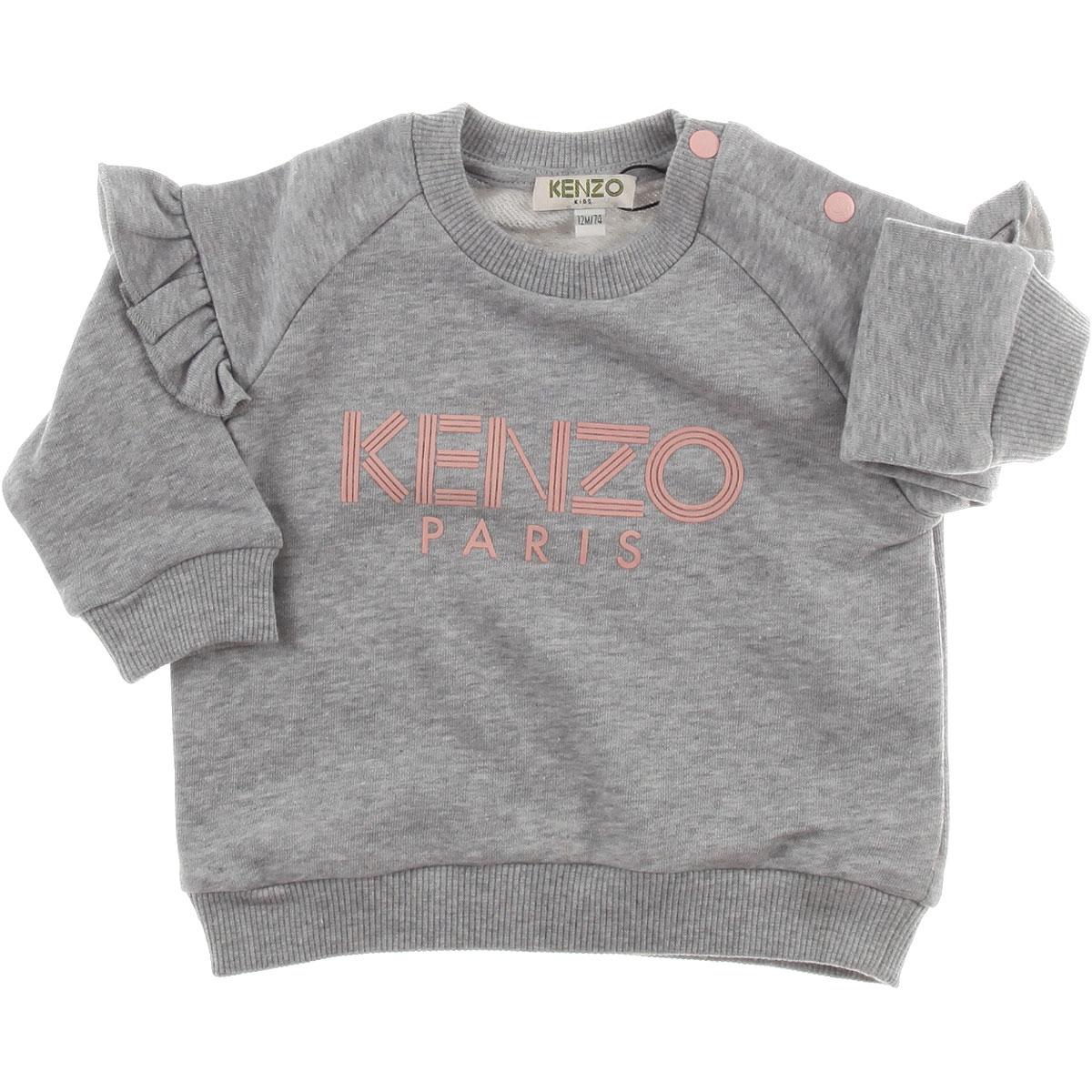 Image of Kenzo Baby Sweatshirts & Hoodies for Girls, Grey, Cotton, 2017, 12M 18M 2Y 3Y 4Y 6M