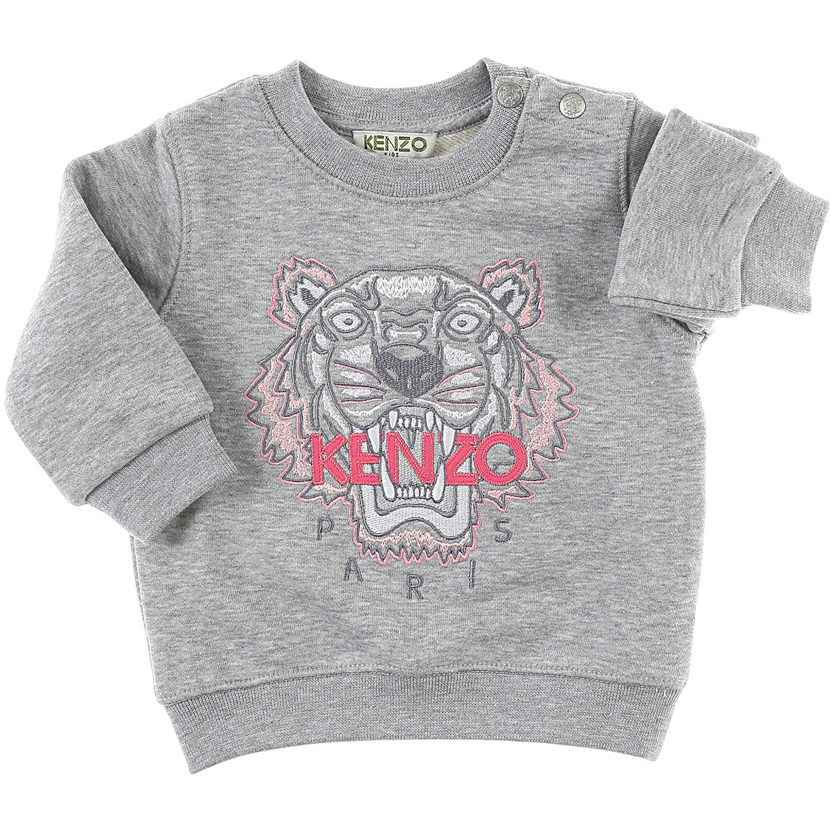 Image of Kenzo Baby Sweatshirts & Hoodies for Girls, Grey, Cotton, 2017, 10Y 12M 14Y 16Y 18M 2Y 3Y 4Y 6M 6Y