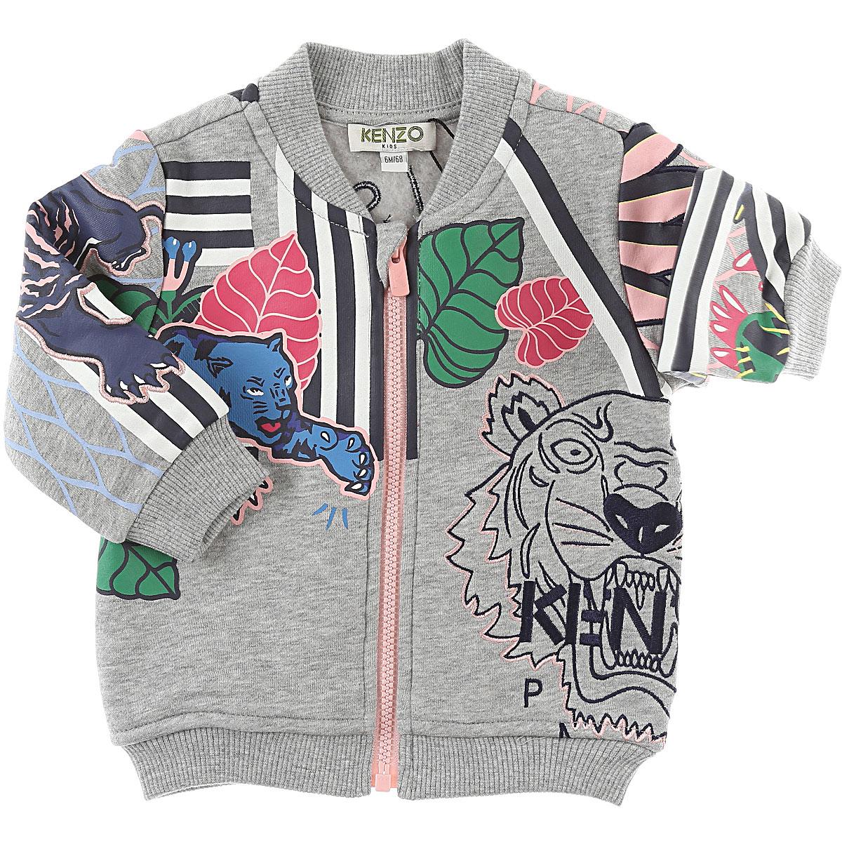 Image of Kenzo Baby Sweatshirts & Hoodies for Girls, Grey, Cotton, 2017, 12M 18M 2Y 6M 9M