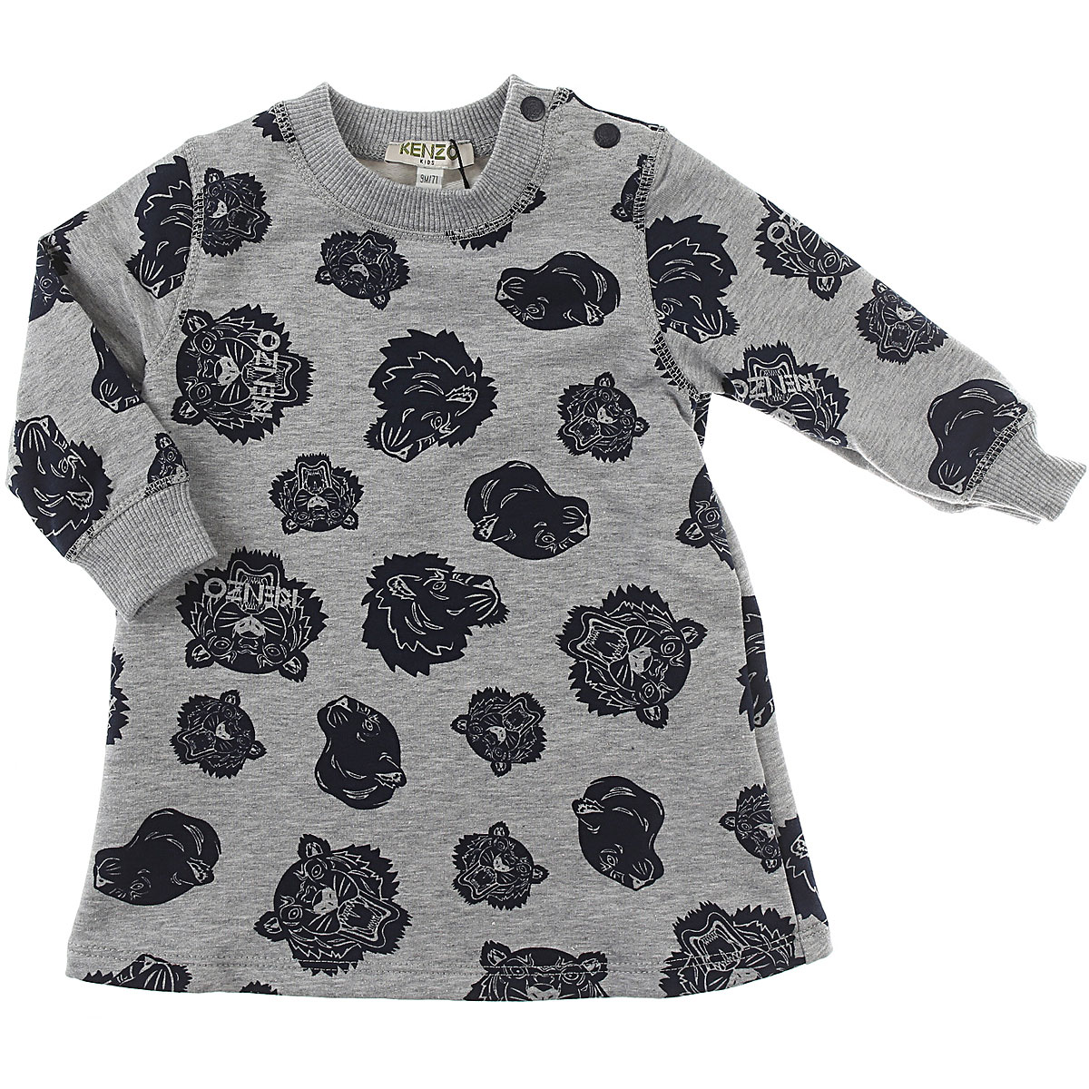 Image of Kenzo Baby Dress for Girls, Grey, Cotton, 2017, 12M 18M 2Y 6M 9M