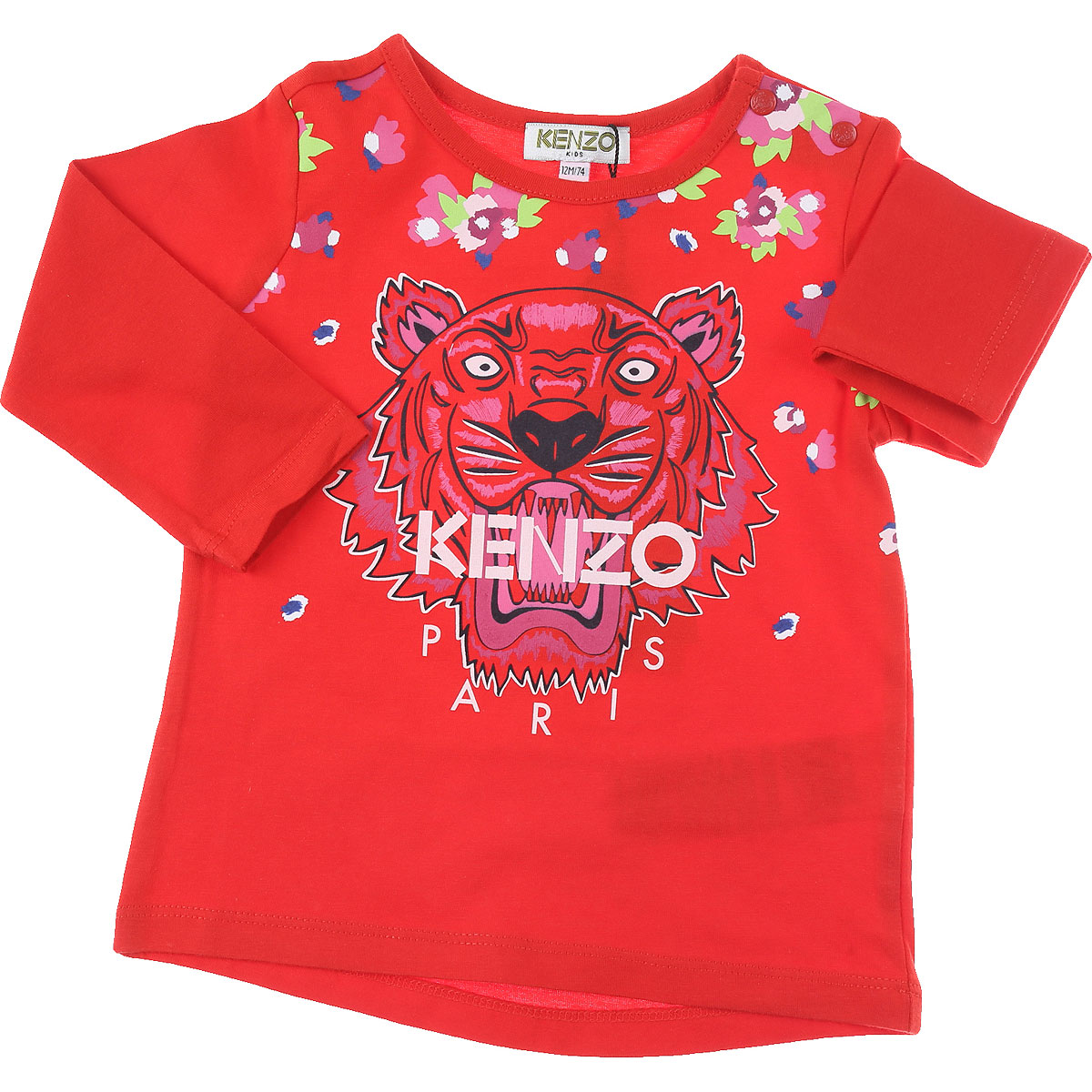 Kenzo Baby T-Shirt for Girls On Sale, Red, Cotton, 2019, 12M 18M