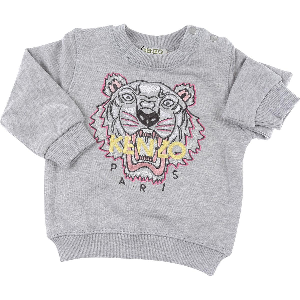 Kenzo Baby Sweatshirts & Hoodies for Girls On Sale, Grey, Cotton, 2019, 12M 18M