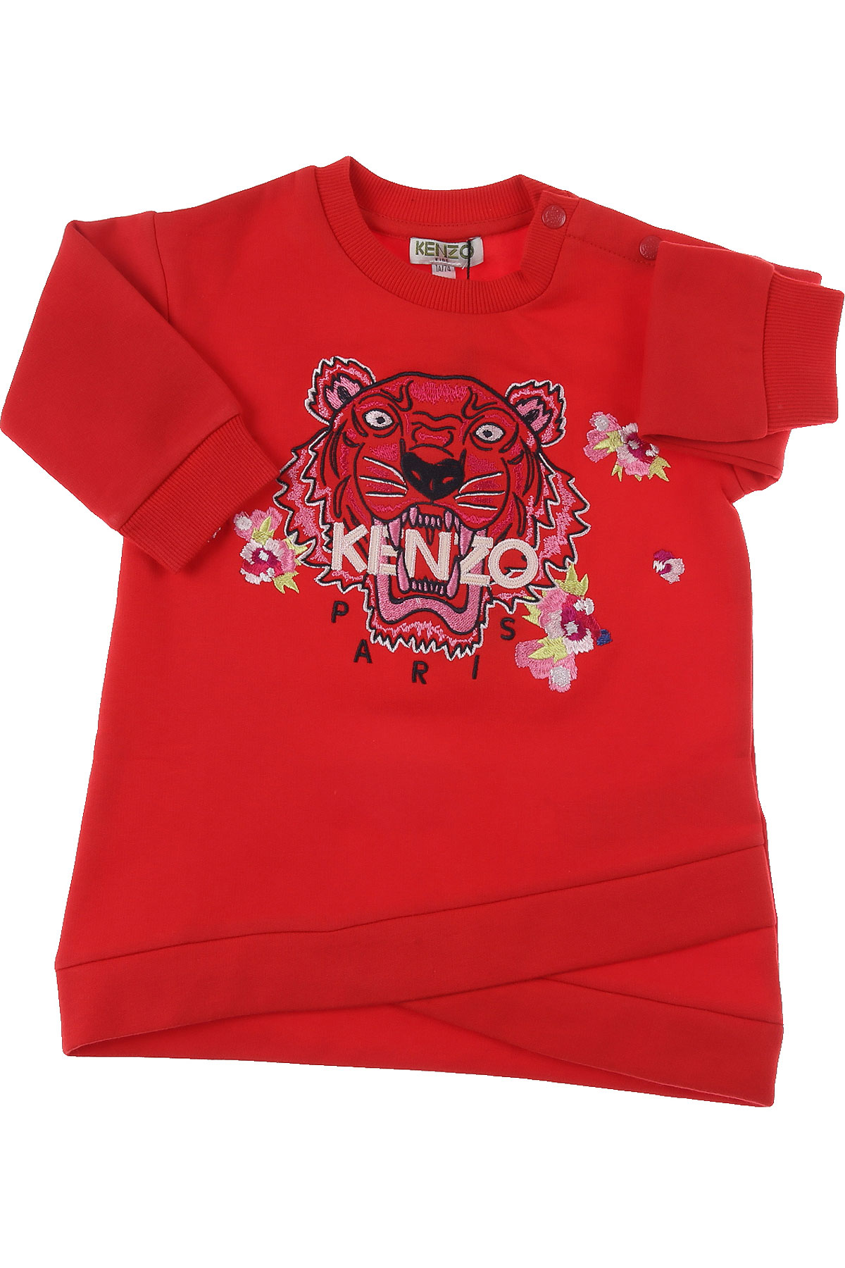 Kenzo Baby Dress for Girls On Sale, Red, Cotton, 2019, 12M 18M