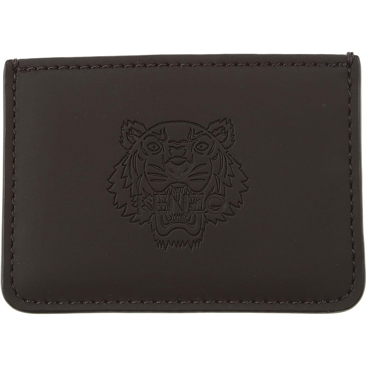 Kenzo Card Holder for Men, Black, Leather, 2019