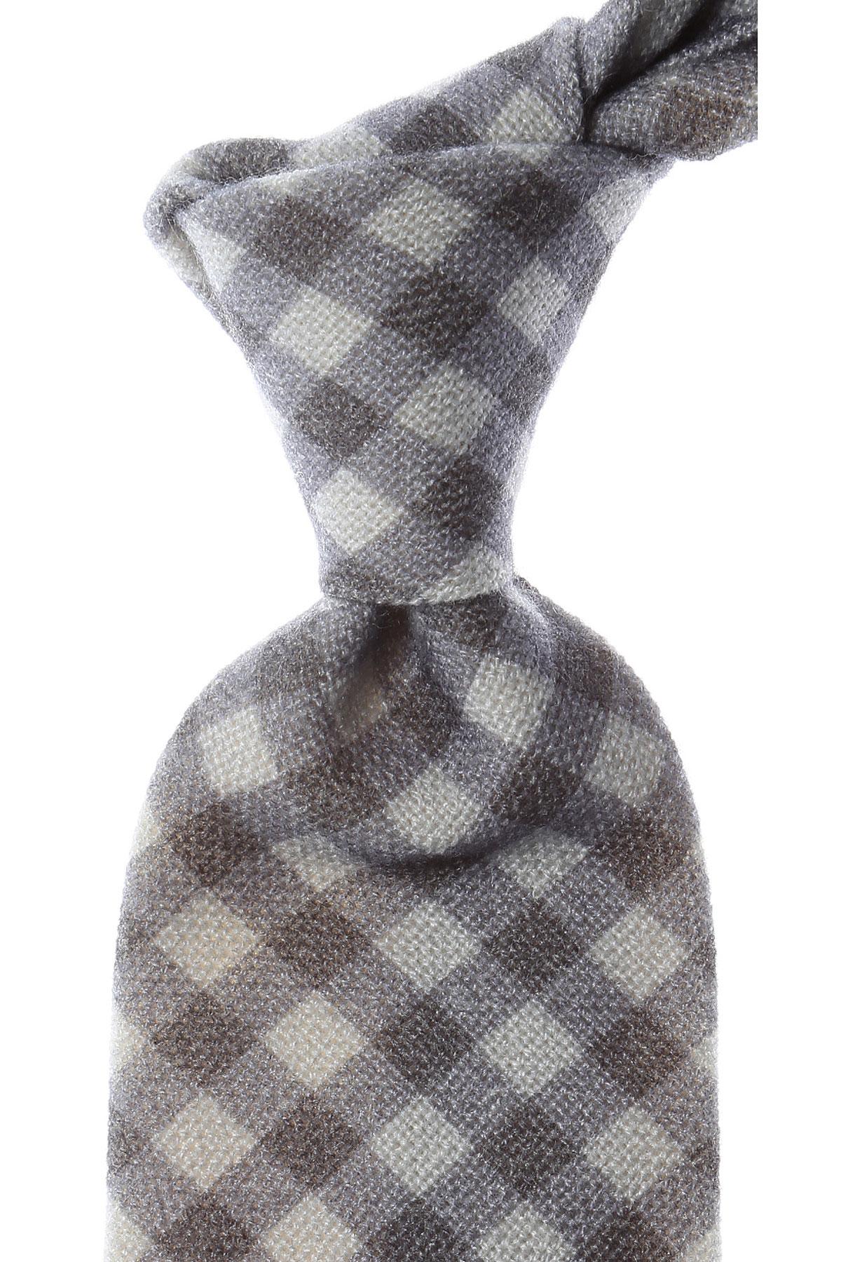 Image of Kiton Ties On Sale, Ash Gray Melange, Wool, 2017