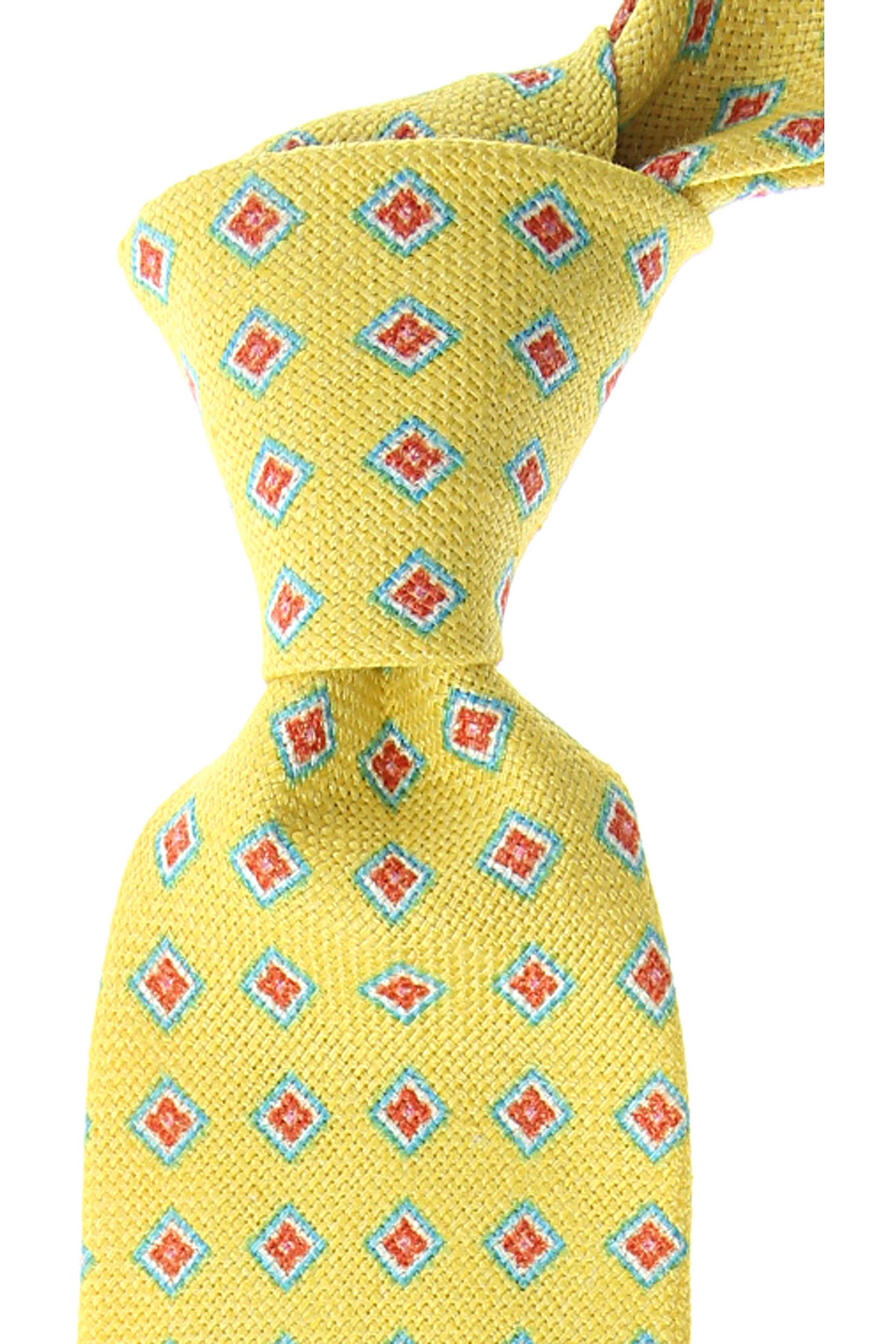Kiton Ties On Sale, Acid Lime, linen, 2019