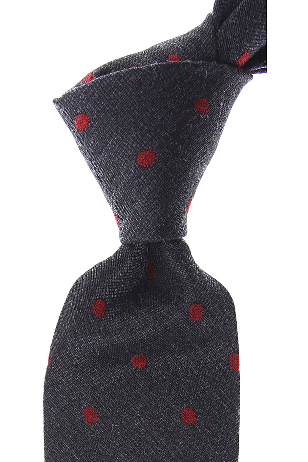 Kiton Ties On Sale, Asphalt Grey Melange, Wool, 2019