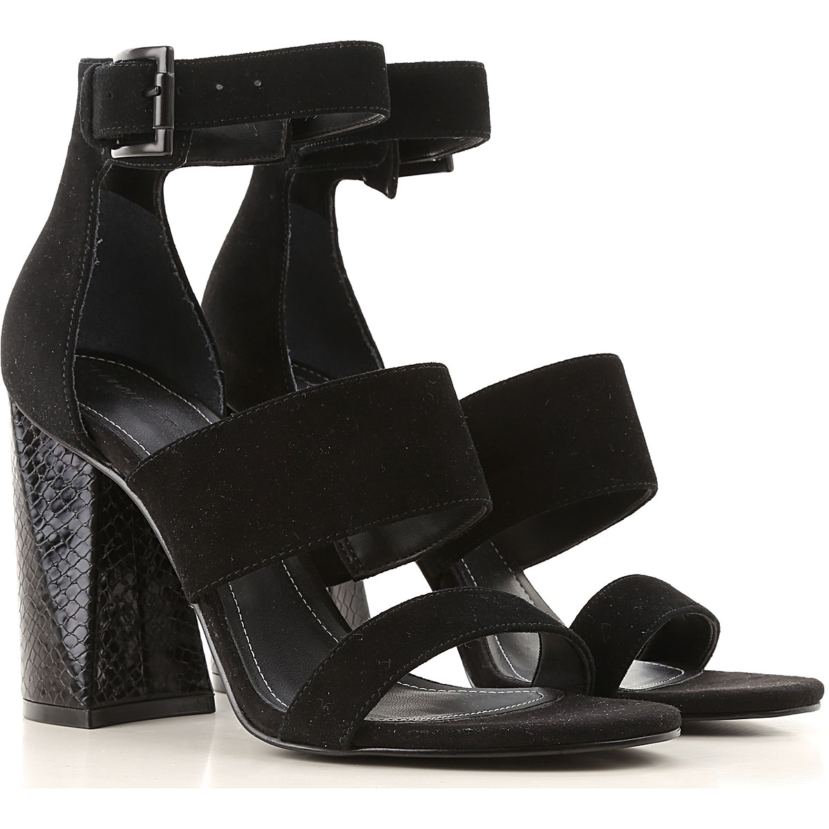 Kendall Kylie Sandals for Women On Sale in Outlet, Black, Suede leather, 2019, 7