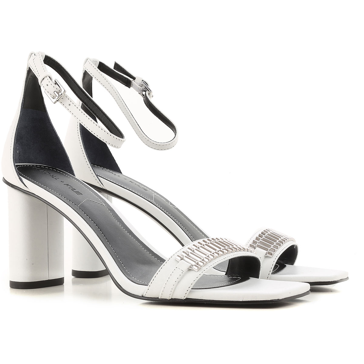 Kendall Kylie Sandals for Women On Sale in Outlet, White, Leather, 2019, 7 8.5