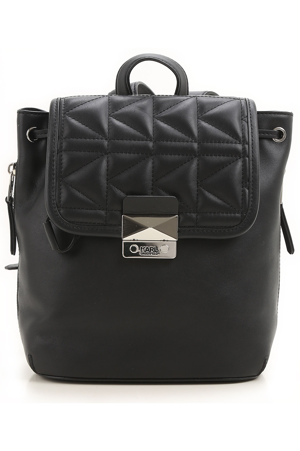 Image of Karl Lagerfeld Backpack for Women On Sale in Outlet, Black, Leather, 2017