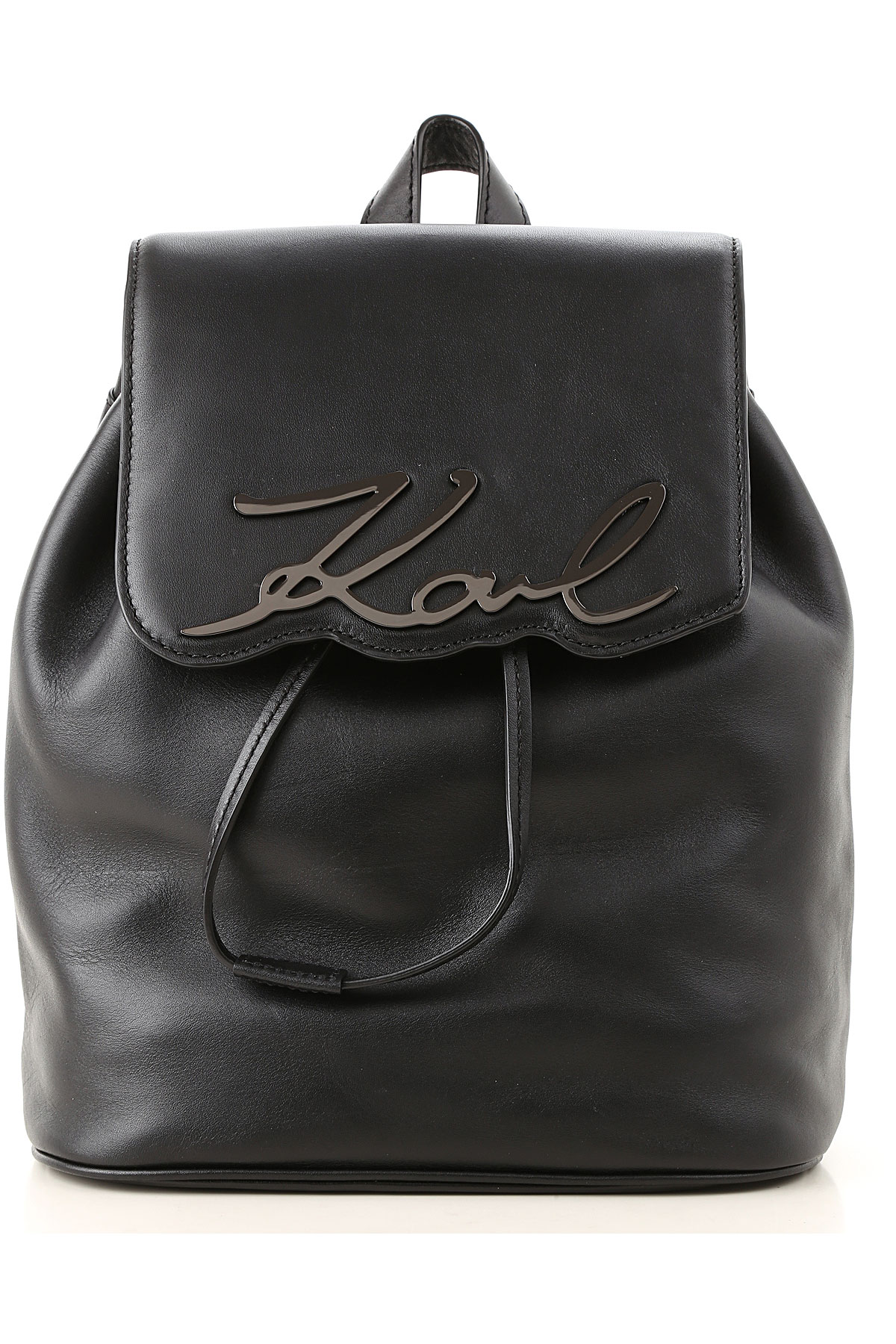 Image of Karl Lagerfeld Backpack for Women, Black, Leather, 2017