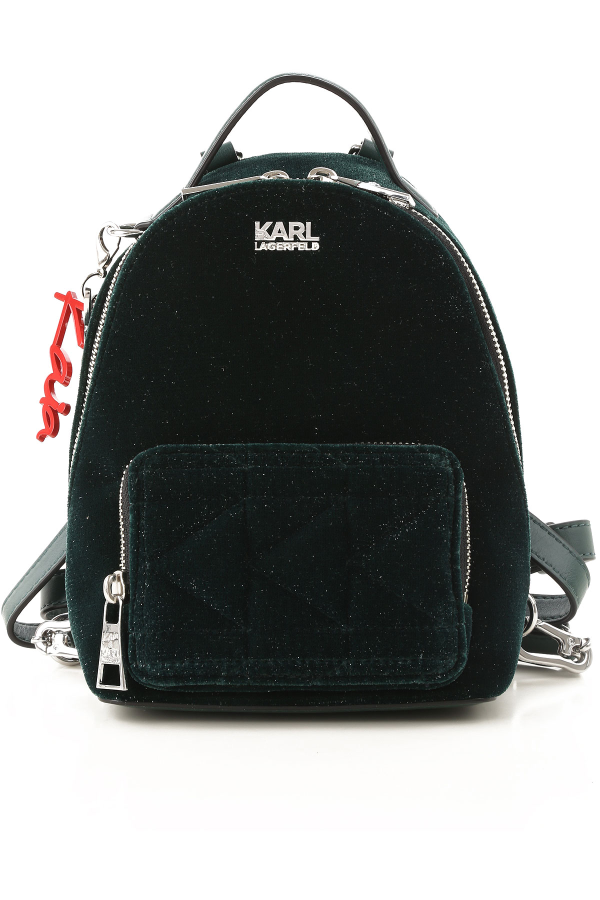 Karl Lagerfeld Backpack for Women On Sale, Bottle Green, Leather, 2019