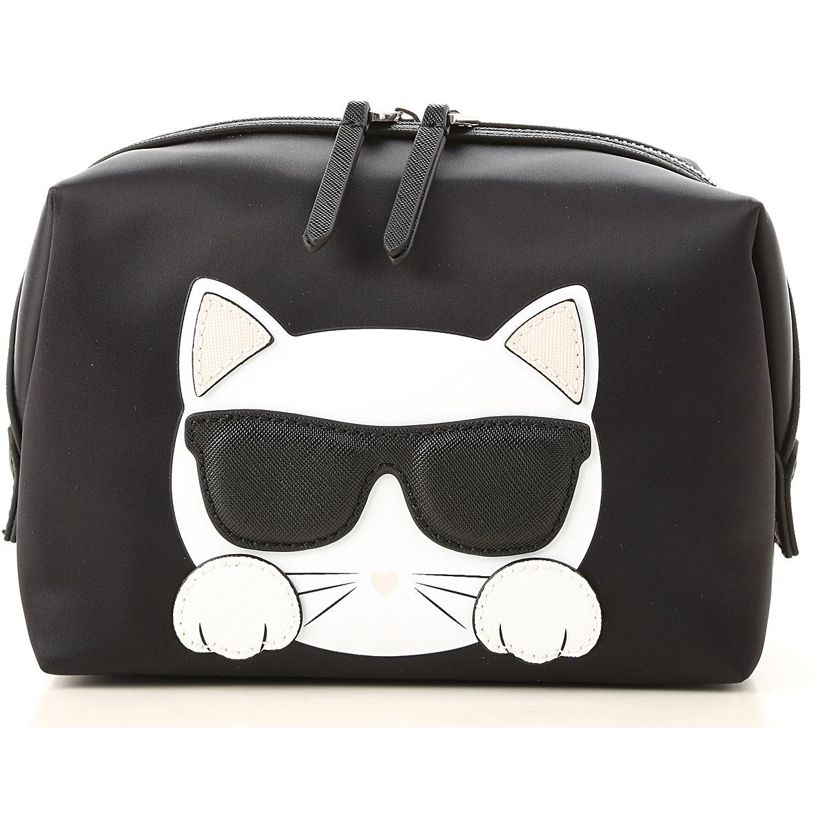 Image of Karl Lagerfeld Makeup Bag Cosmetic Case for Women, Black, Nylon, 2017
