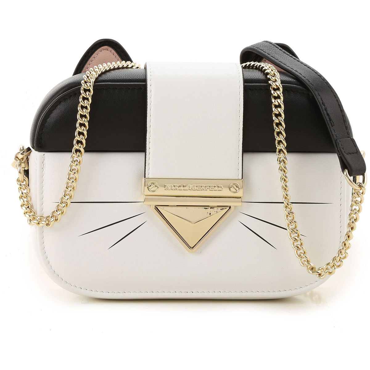 Karl Lagerfeld Clutch Bag On Sale, White, Leather, 2019