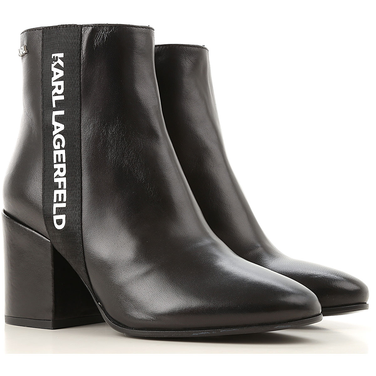 Karl Lagerfeld Boots for Women, Booties On Sale, Black, Leather, 2019, UK 4 - EU 37 - US 7 UK 5 - EU 38 - US 8 UK 8 - EU 41 - US 11 UK 6 - EU 39 UK 7