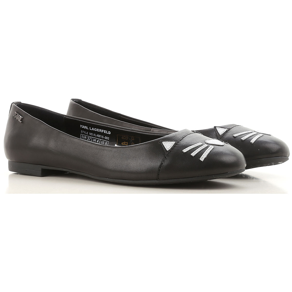 Image of Karl Lagerfeld Ballet Flats Ballerina Shoes for Women On Sale, Black, Leather, 2017, 6 7