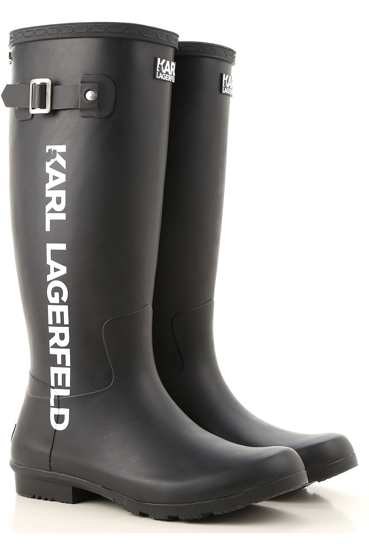 Karl Lagerfeld Boots for Women, Booties On Sale, Black Rubber, Rubber, 2019, UK 4 - EU 37 - US 7 UK 5 - EU 38 - US 8 UK 6 - EU 39 UK 7 - EU 40