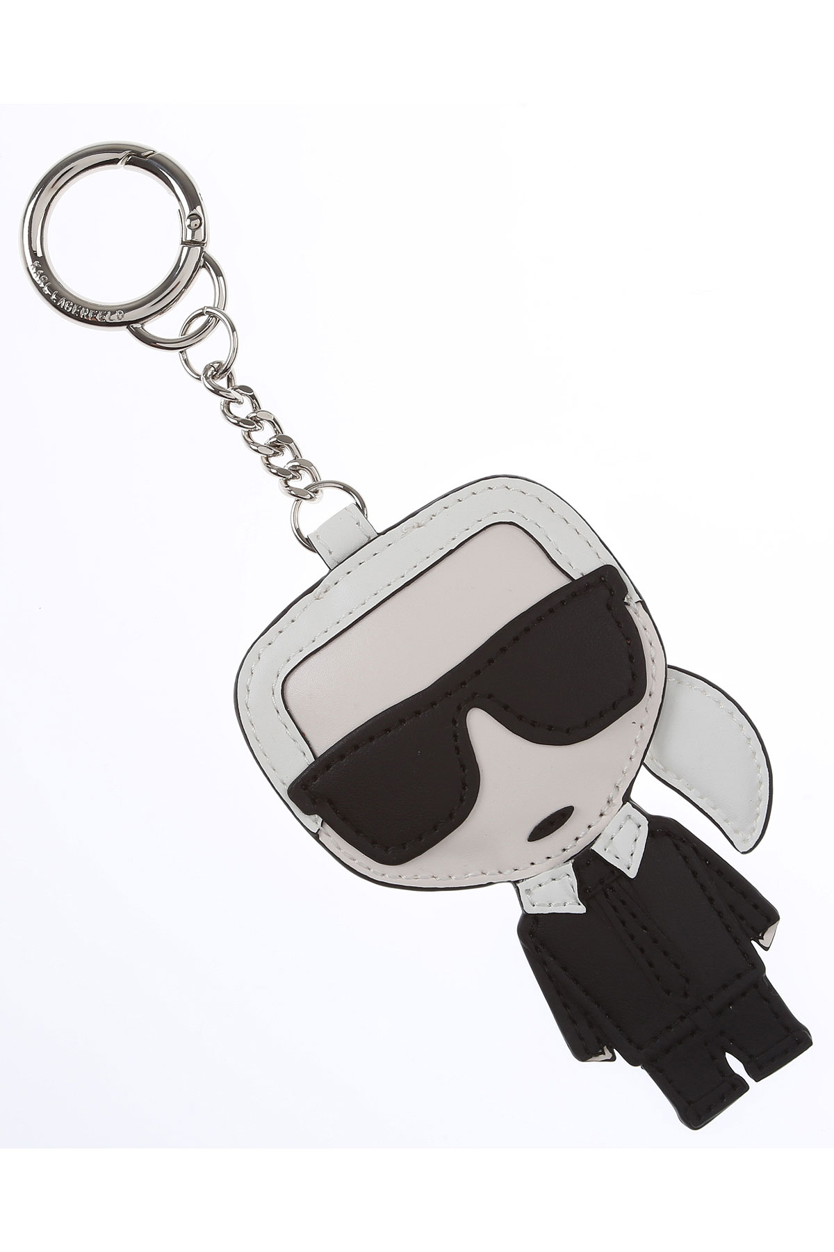Karl Lagerfeld Key Chain for Women, Key Ring On Sale, Black, Leather, 2019