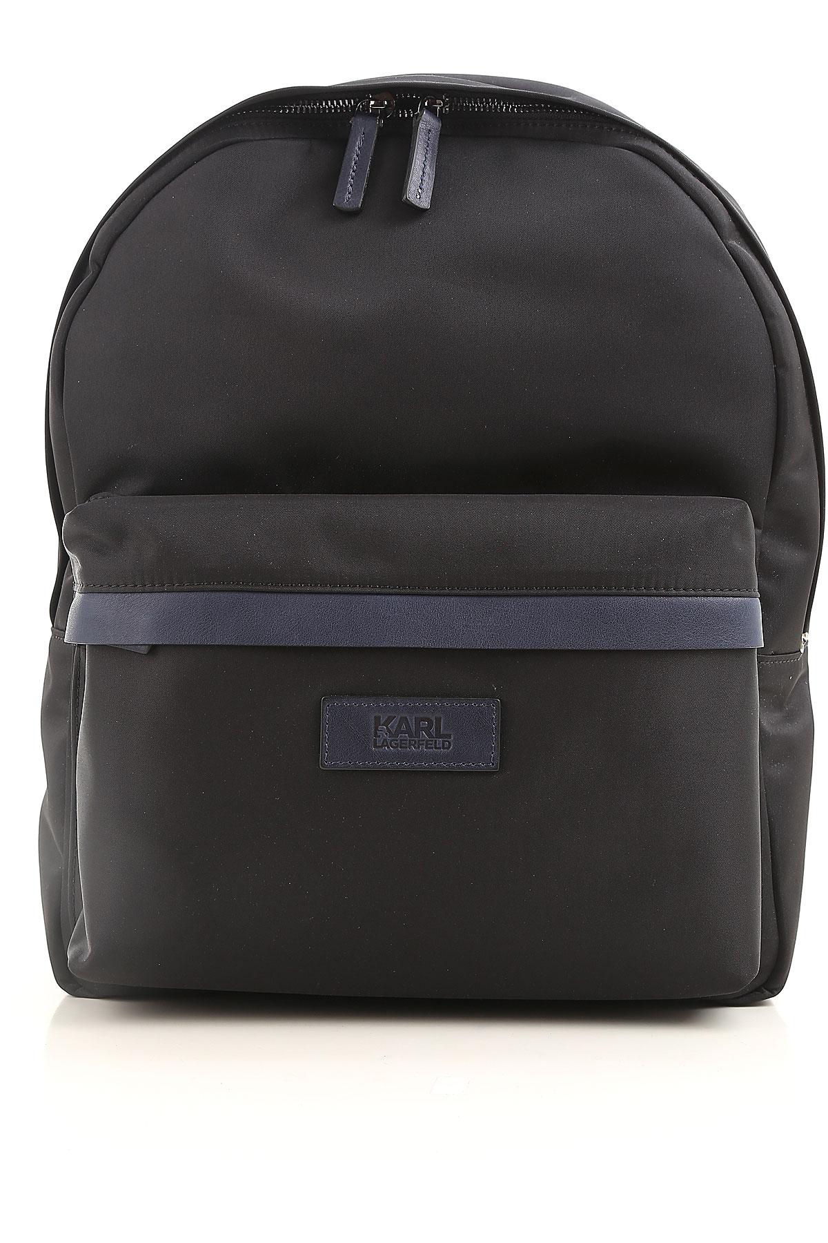 Image of Karl Lagerfeld Backpack for Men, Black, Nylon, 2017