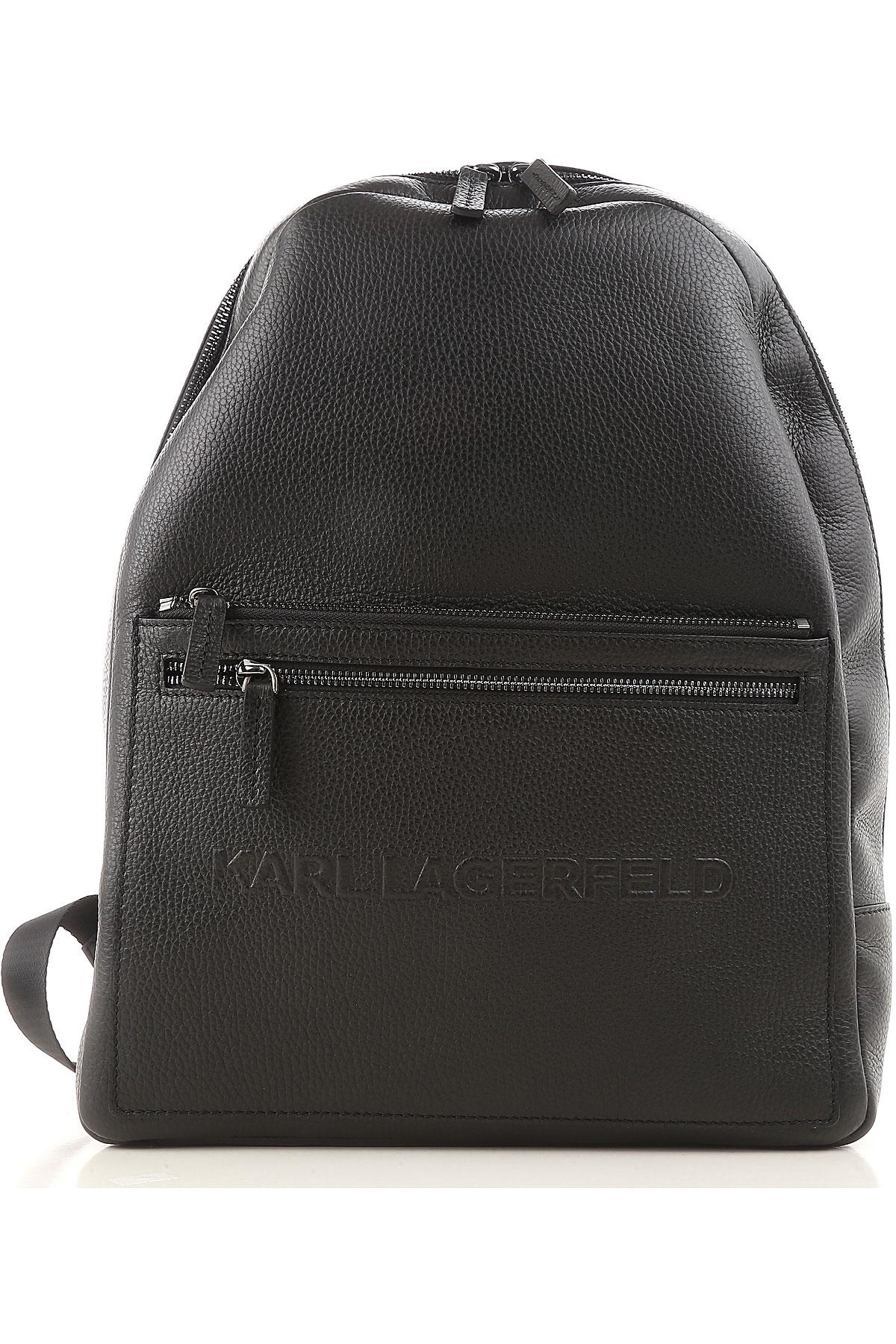 Image of Karl Lagerfeld Backpack for Men, Black, Leather, 2017