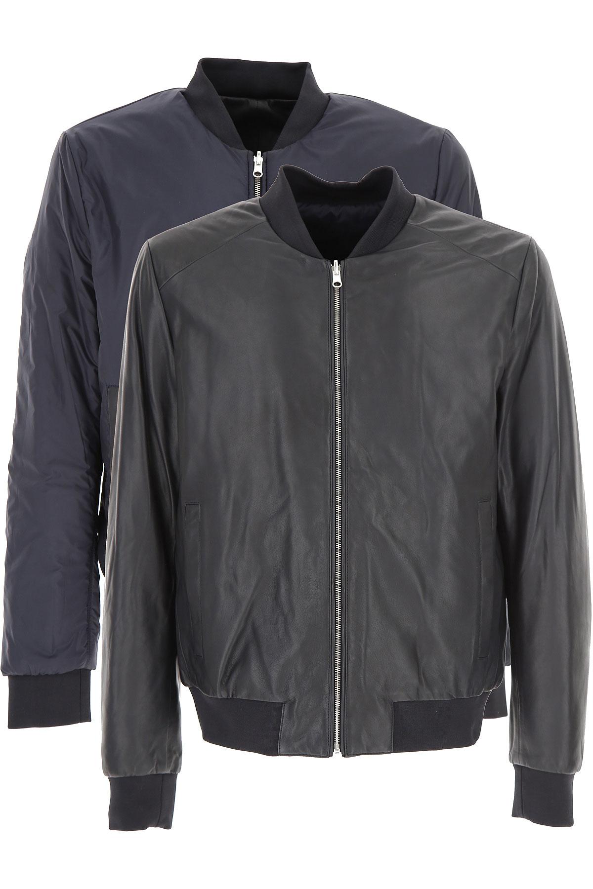 カール・ラガー�-ェルド レザージャケット男性用 メンズ セール, Reversible, 黒, レザー, 2017, L XL