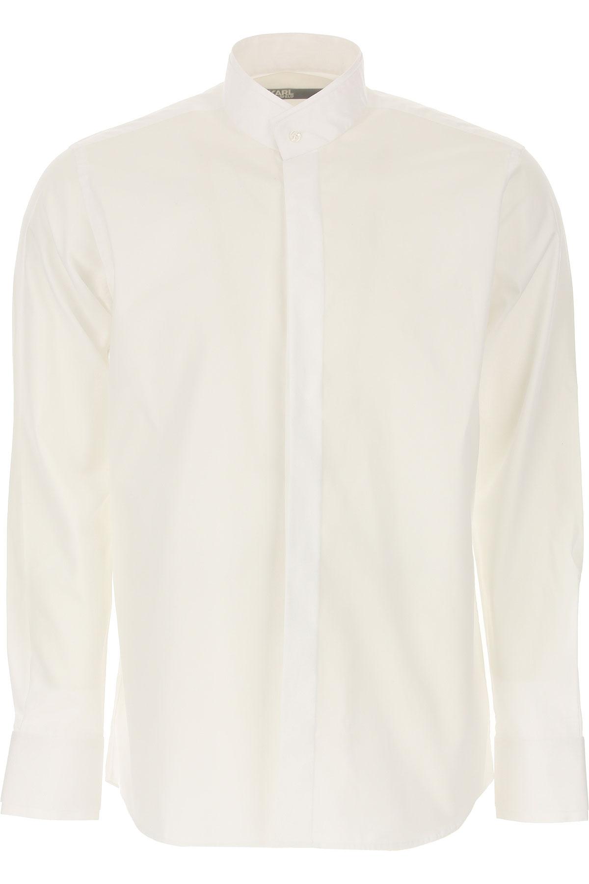 Karl Lagerfeld Chemise Homme, Blanc, Coton, 2019, M S XL