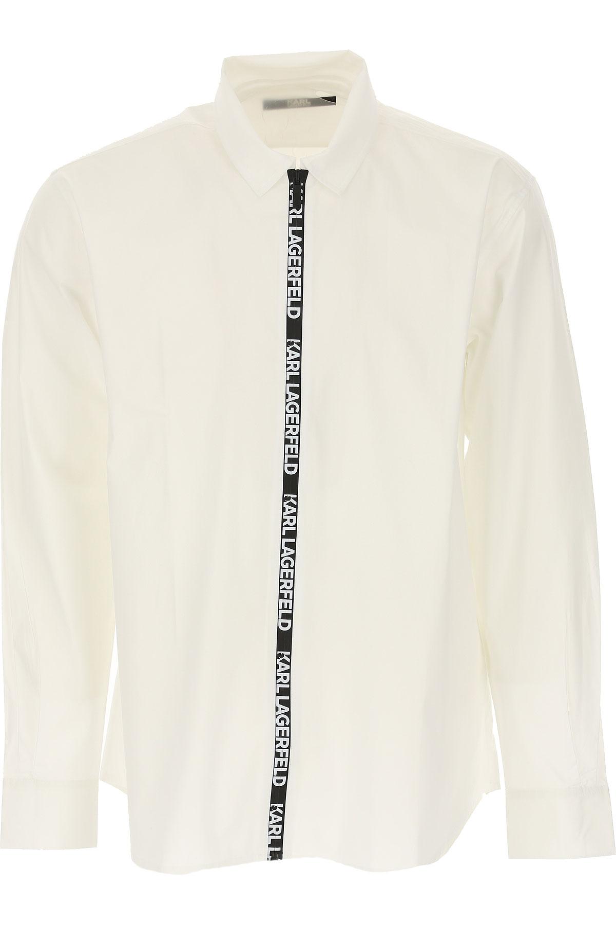 Karl Lagerfeld Chemise Homme Pas cher en Soldes, Blanc, Coton, 2019, L M