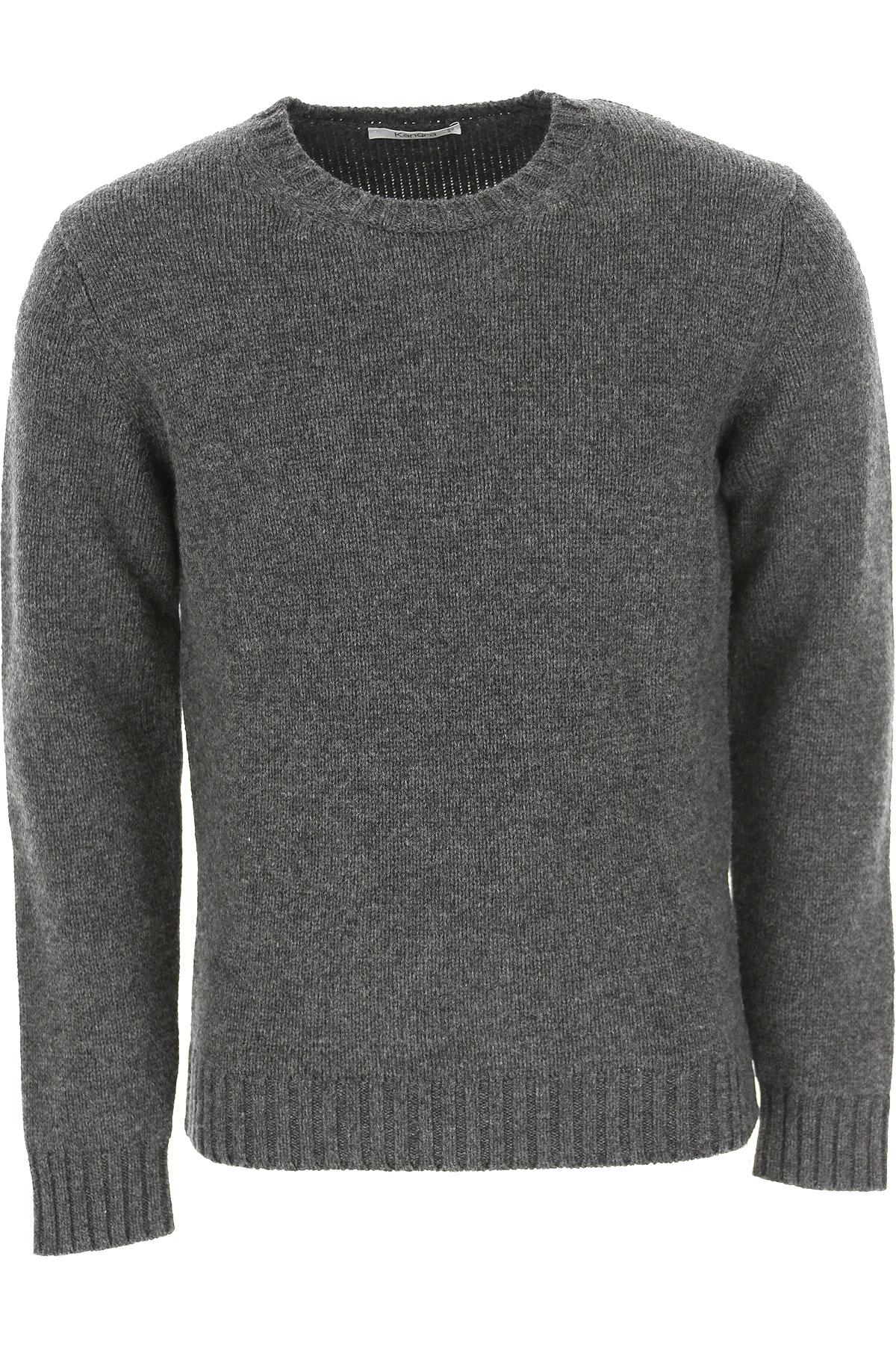 Kangra Sweater for Men Jumper On Sale, Asphalt Grey, Merinos Wool, 2019, L M XL XXL