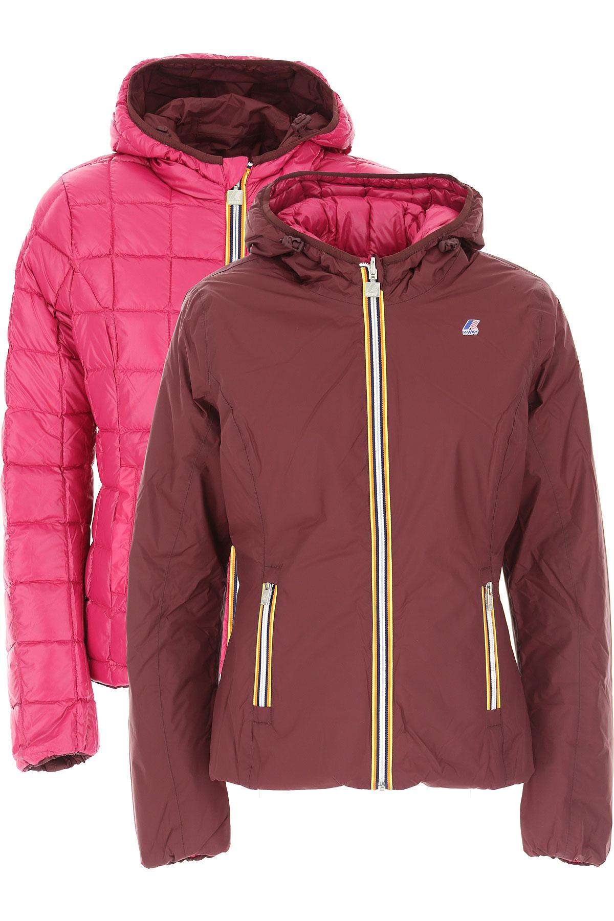 K-Way Down Jacket for Women, Puffer Ski Jacket On Sale, Wine, polyamide, 2019, 46