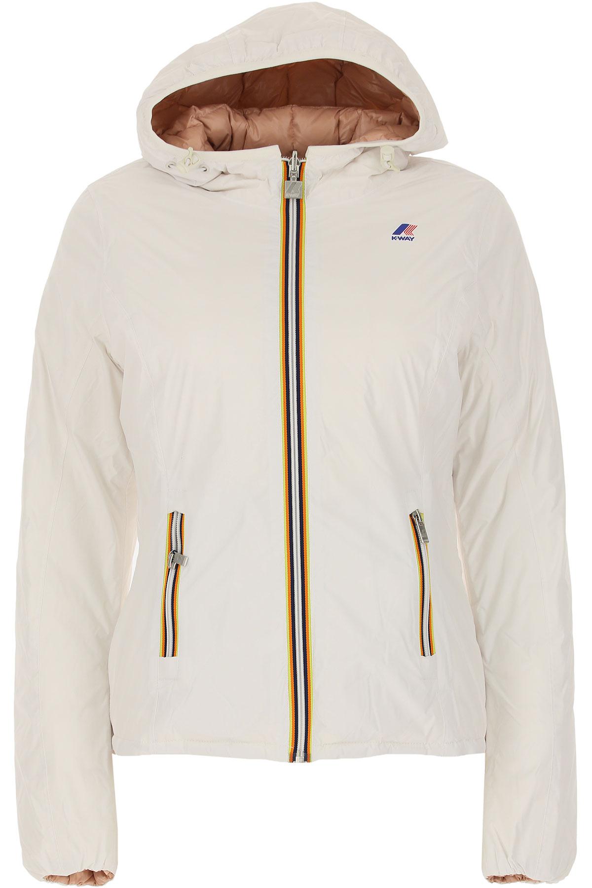 K-Way Down Jacket for Women, Puffer Ski Jacket On Sale, Reversible, White, Down, 2019, 40 44 46