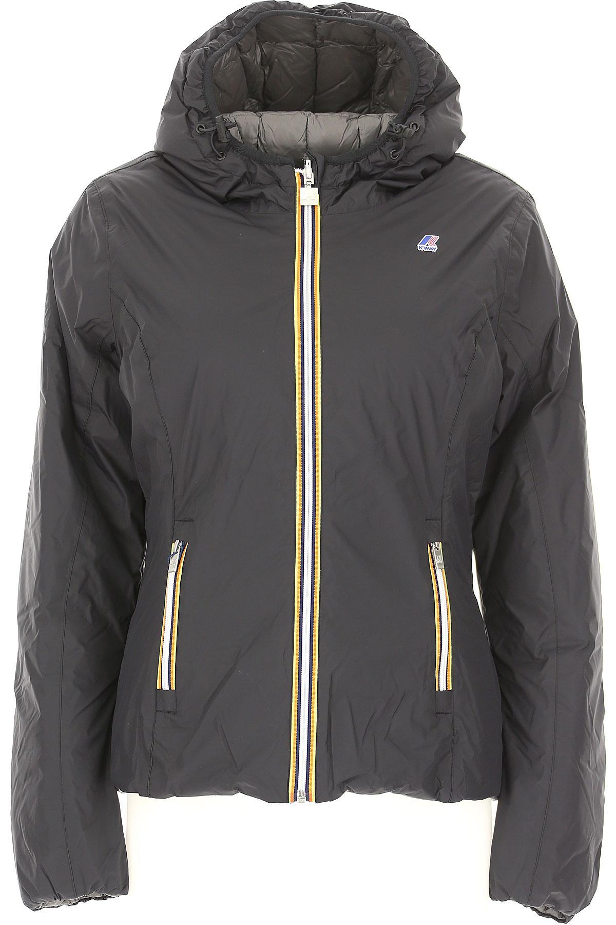 K-Way Down Jacket for Women, Puffer Ski Jacket On Sale, Reversible, Black, Down, 2019, 40 44