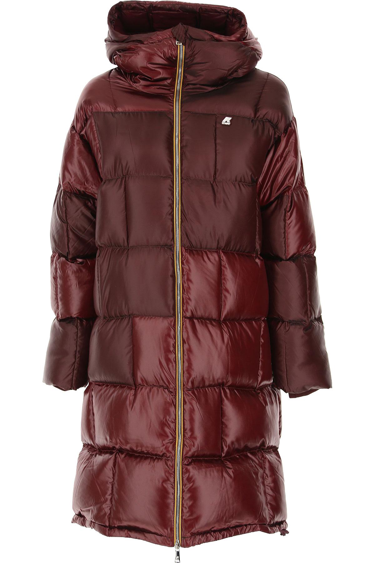 K-Way Down Jacket for Women, Puffer Ski Jacket, Cherry Black, polyester, 2019, 40 44