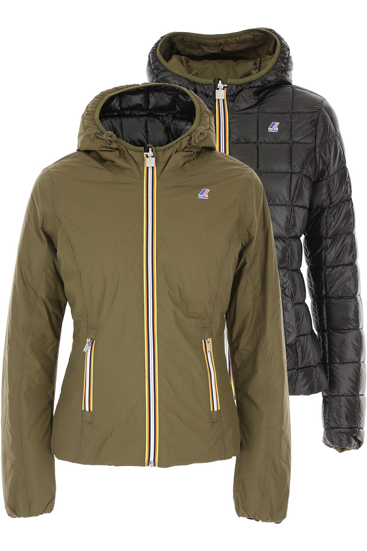K-Way Down Jacket for Women, Puffer Ski Jacket On Sale, Military Green, polyamide, 2019, 40 44