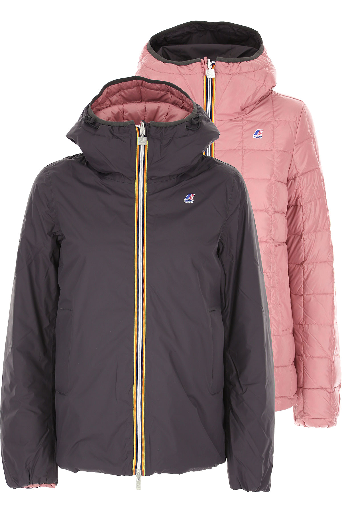 K-Way Down Jacket for Women, Puffer Ski Jacket On Sale, Navy Blue, polyamide, 2019, 40 44