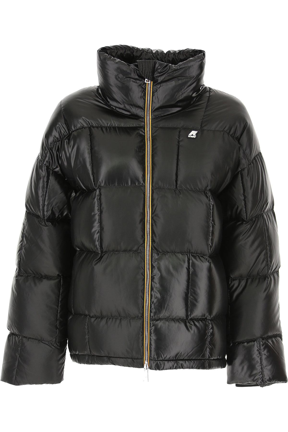 K-Way Down Jacket for Women, Puffer Ski Jacket On Sale, Black, polyestere, 2019, 40 44