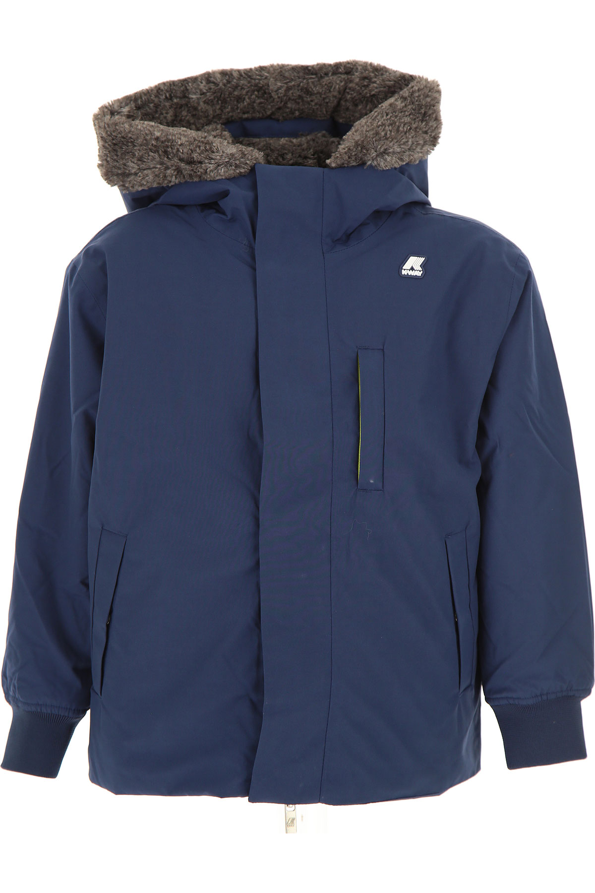 K-Way Boys Down Jacket for Kids, Puffer Ski Jacket On Sale, Indigo Blue, Cotton, 2019, 10Y 8Y