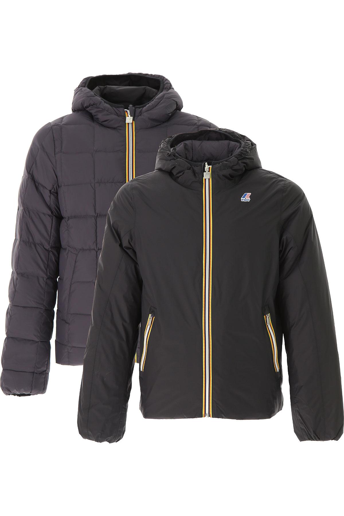 Image of K-Way Down Jacket for Men, Puffer Ski Jacket, Reversible, Black, Down, 2017, L M XL