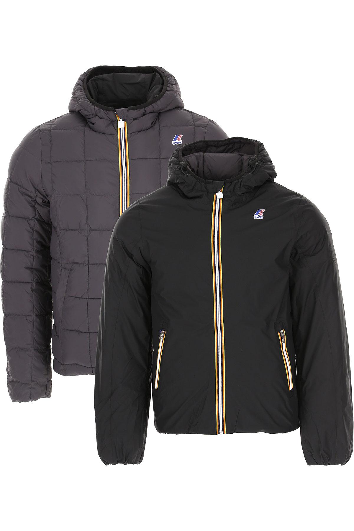 K-Way Down Jacket for Men, Puffer Ski Jacket On Sale, Black, polyamide, 2019, M XL XXL