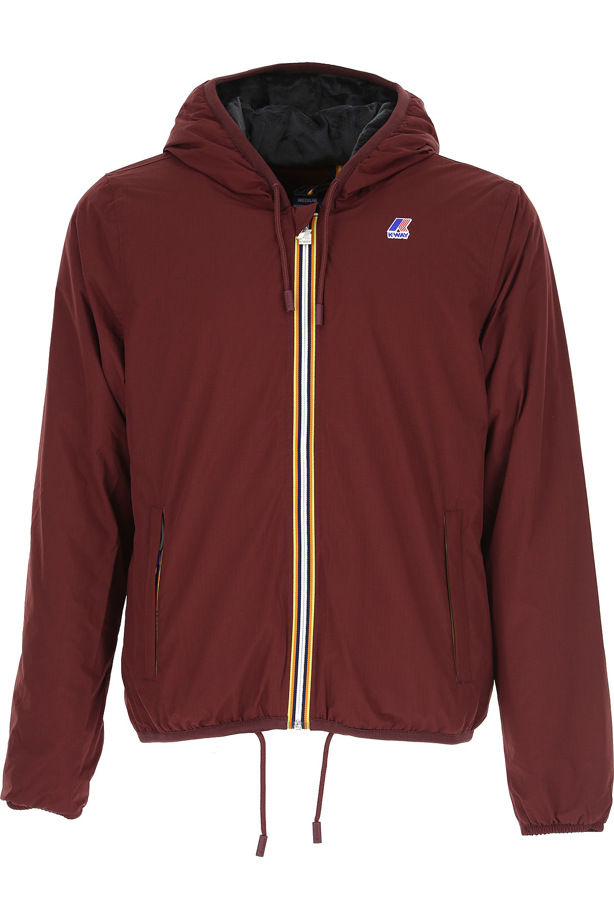K-Way Down Jacket for Men, Puffer Ski Jacket, Red Dahlia, polyester, 2019, L M S XXL