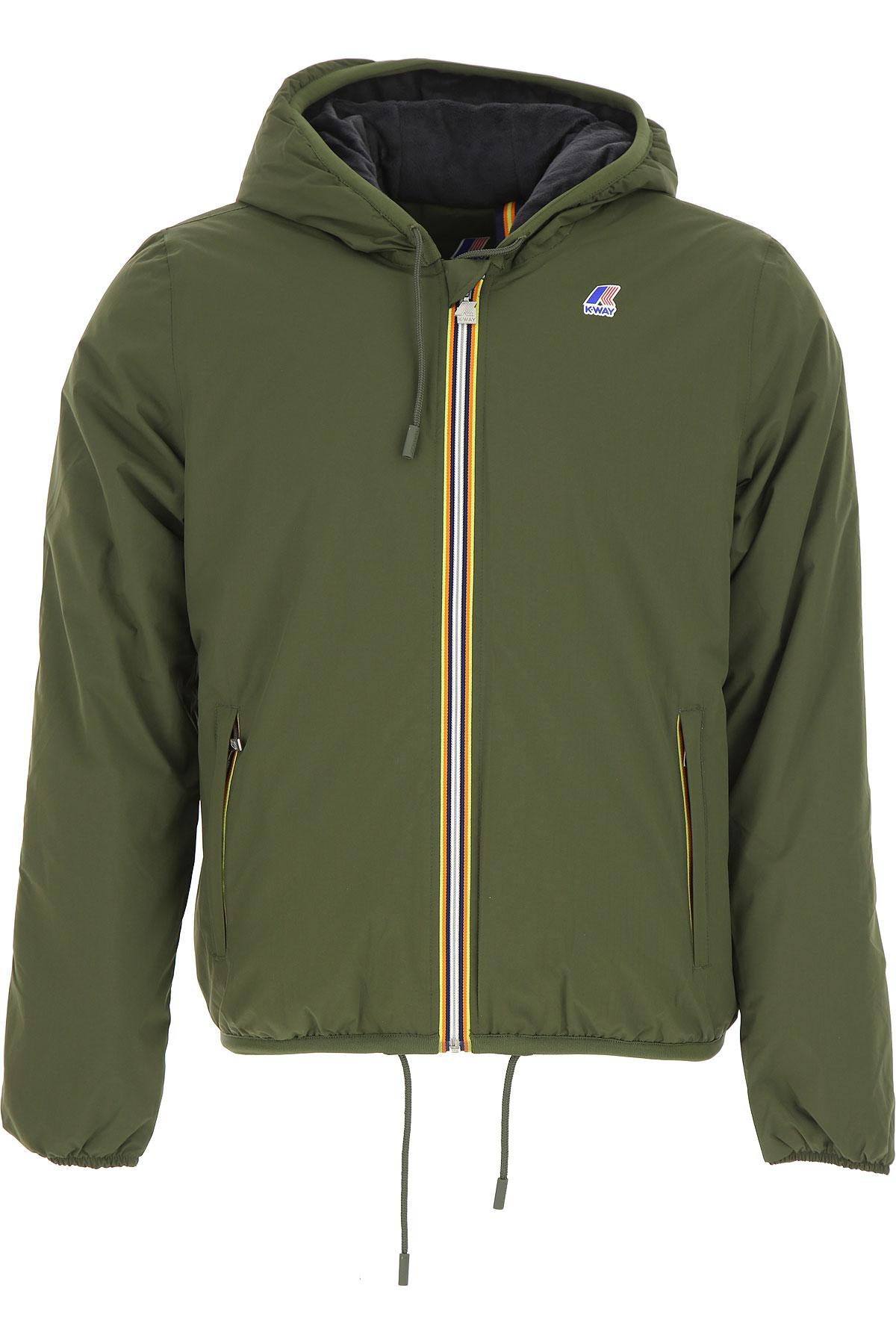 Image of K-Way Down Jacket for Men, Puffer Ski Jacket, Military Green, polyamide, 2017, S XL XXL