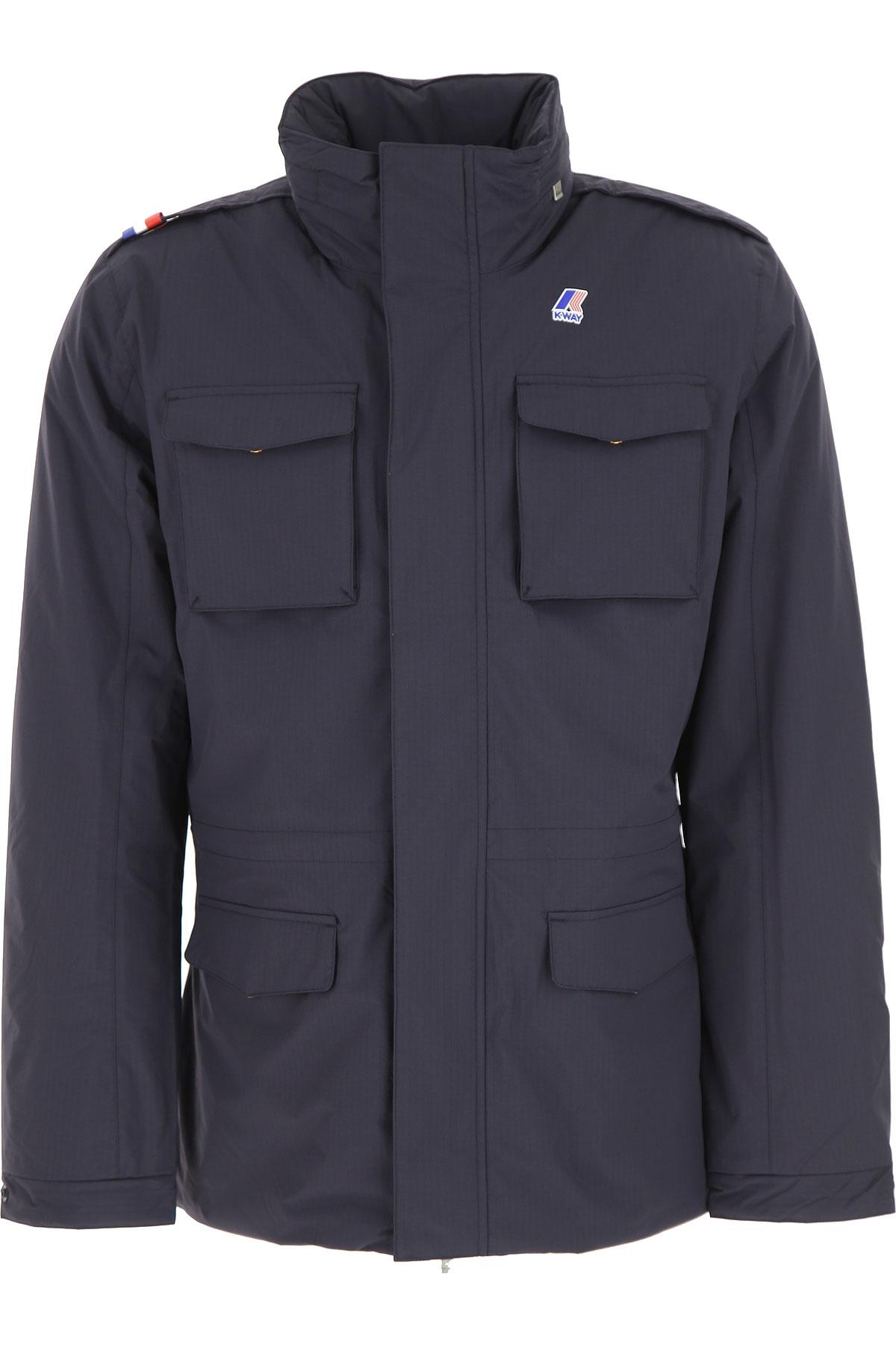Image of K-Way Down Jacket for Men, Puffer Ski Jacket, Deep Blue Antracite, polyamide, 2017, L M XL