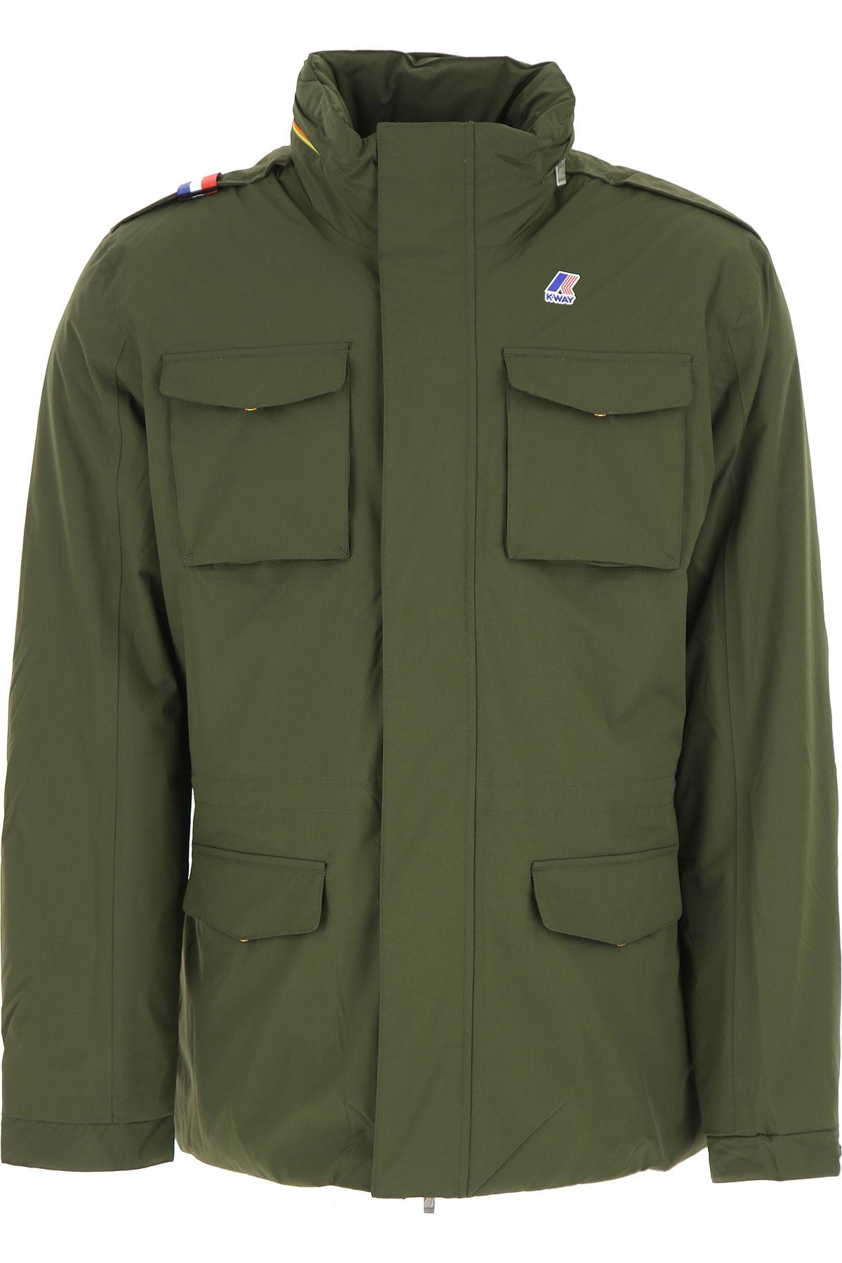Image of K-Way Down Jacket for Men, Puffer Ski Jacket, Military Green, polyamide, 2017, L M S XXL